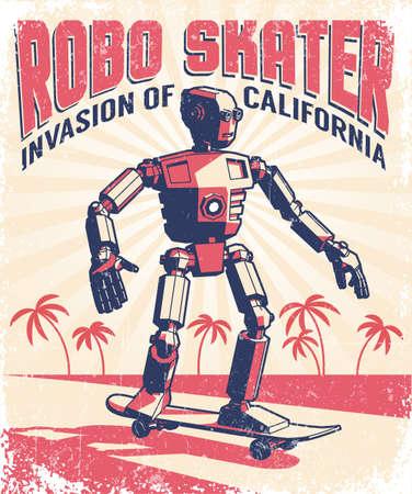 Humanoid robot riding a skateboard