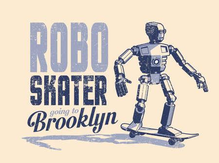 Robot skater rides a skateboard - vintage pop art poster in stamp style Illustration