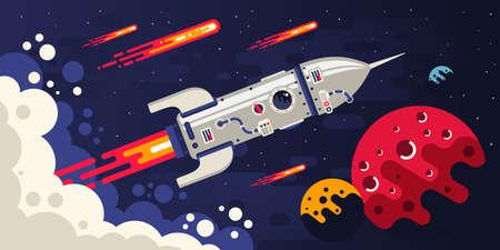 Cohete volando en el espacio a otros planetas.