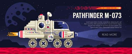 Rover espacial en la superficie del planeta rojo. Explorando un planeta alienígena. Ilustración de vector