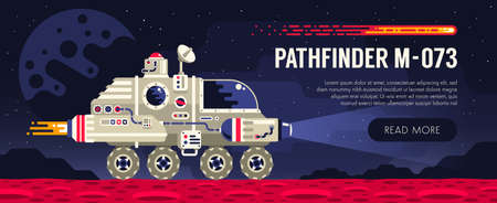 Space rover on red planet surface. Exploring an alien planet. Illustration