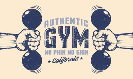 Gym poster - hands with dumbbells