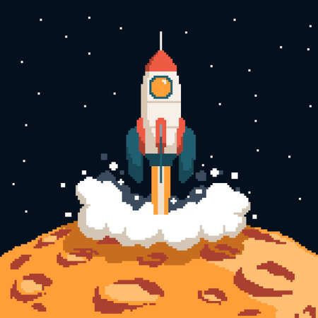 Pixel art rocket taking off from the surface of the moon Illustration
