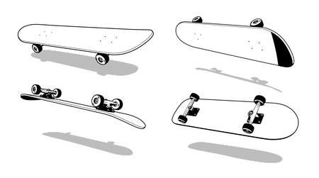Skateboard 3D Heelflip retro print stamp vector illustrtion
