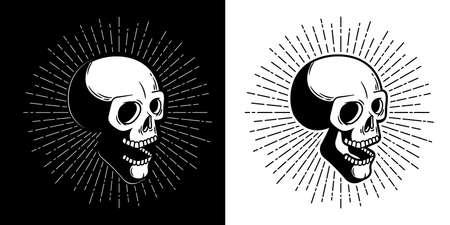 Skull hipster with sunburst - print style. Vector illustration Illustration