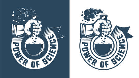 Scientific logo - hand holding a flask