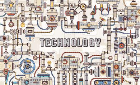 Machinery Industrial Steampunk Konzeptrahmen aus mechanischen Teilen