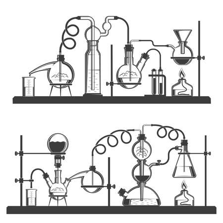 Complex chains of laboratory glassware for chemical reactions - black and white retro style illustration