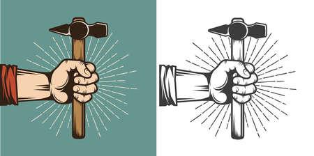 Hand holding a hammer - retro vintage stamp illustration