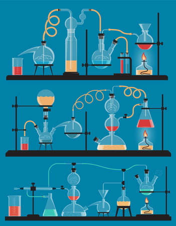 Chemical reactions using all sorts of laboratory glassware, flasks, racks, spirit stoves, etc.