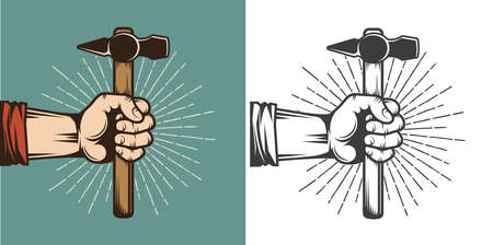 Hand holding a hammer - retro vintage stamp illustration