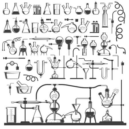A large set of chemical glassware, appliances, equipment for carrying out chemistry reactions. Monochrome retro stamp style. Фото со стока - 125670353