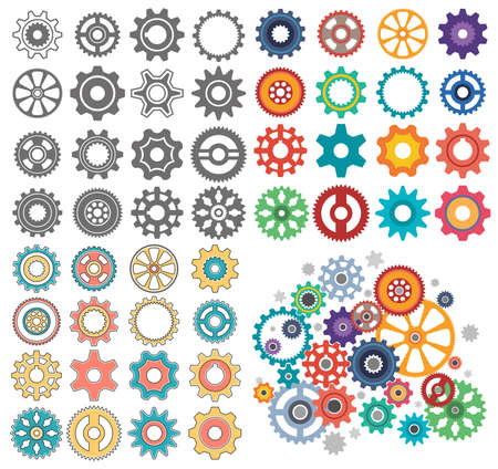 Collection of gears of different shapes and styles. The mechanism of Gearwheels. 版權商用圖片 - 125670357