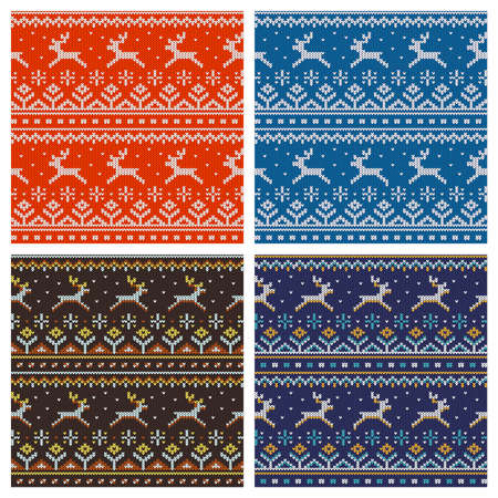 Knitted seamless pattern Four color options.