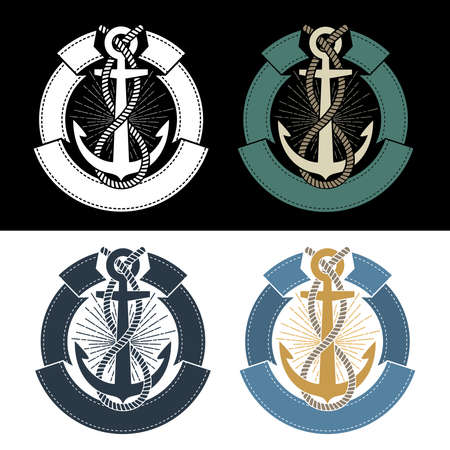 Sea nautical emblem template with anchor and ribbon. Stock Photo