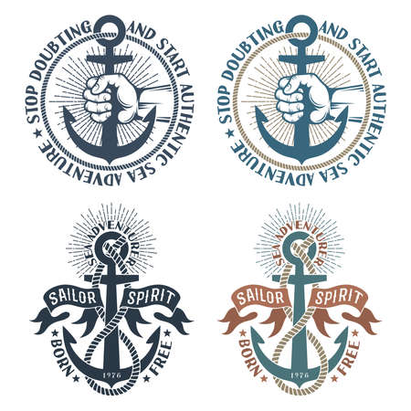 Logos nautiques de pirate de mer avec des ancres dans un style rétro Banque d'images