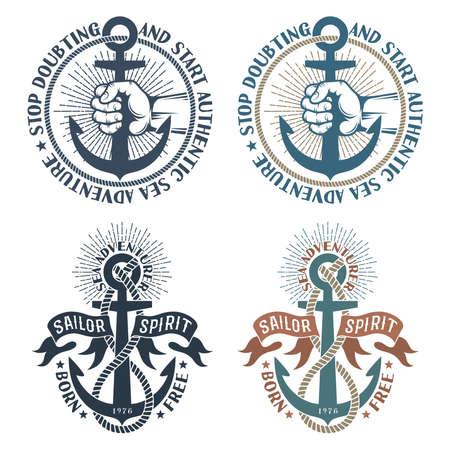 Sea pirate nautical logos with anchors in retro style Zdjęcie Seryjne