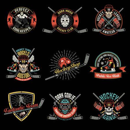 Set of colored retro retro hockey logos, emblems on a black background. Excellent for a sports team, club or league.
