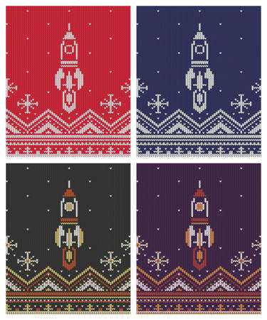Knitted seamless ornament for jumper with flying rocket and northern patterns.