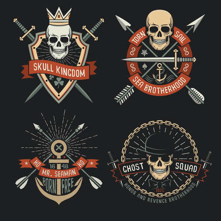 Retro emblems with skull in crown, in hat, with arrows, with swords and shield. Anchor  vintage logo. Stock Photo