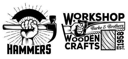 Workshop logos with hand tools