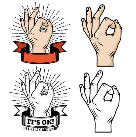 Retro Logo  hand showing approval in color and black and white versions.  OK Gesture