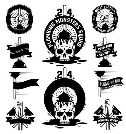 Set of vintage plumbing logos with hands, plunger, adjustable wrench, banners, ribbons and skull. Фото со стока