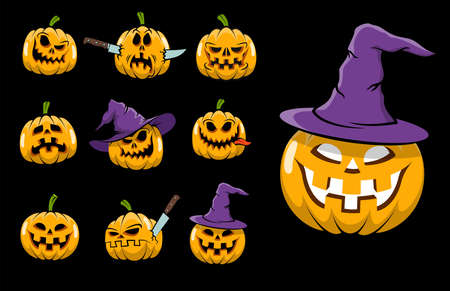 Cartoon halloween isolated pumpkin emoji on black. Imagens