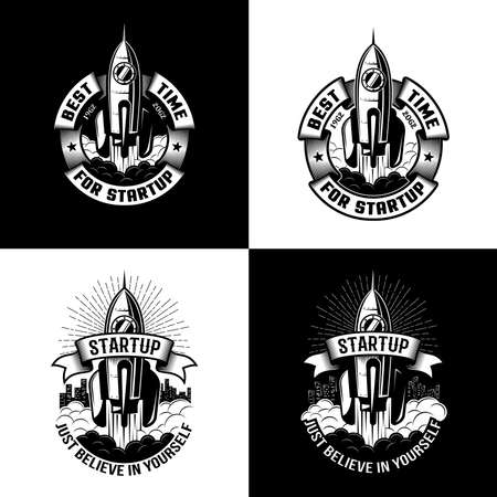 Vintage black and white logo with a rocket taking off.