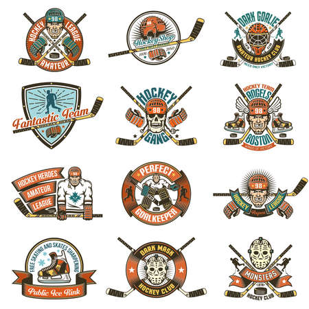 Vintage Hockey logos for teams, leagues, competitions. Ideal for printing on T-shirts. Banque d'images