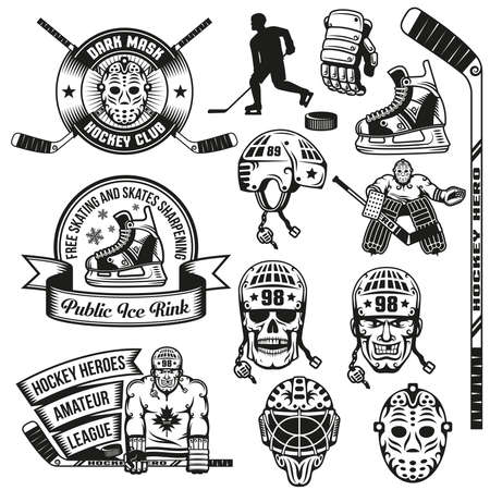 Hockey accessories and logo vintage