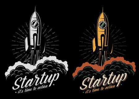Rocket takes off, isolated on a black background, color or monochrome versions. Logo startup. Фото со стока