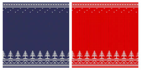 Knitting ornament - seamless horizontal frame with patterns of Christmas trees.
