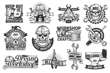 Logos with working tools. Logos for repair workshops and tool shops. Stockfoto