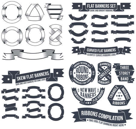 retro ribbons banners