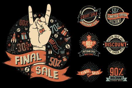 Set of illustrations dedicated to sales Reklamní fotografie