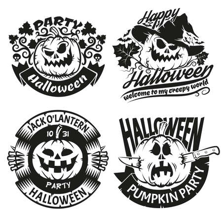 Halloween pumpkin in logos. Halloween signs in tattoos