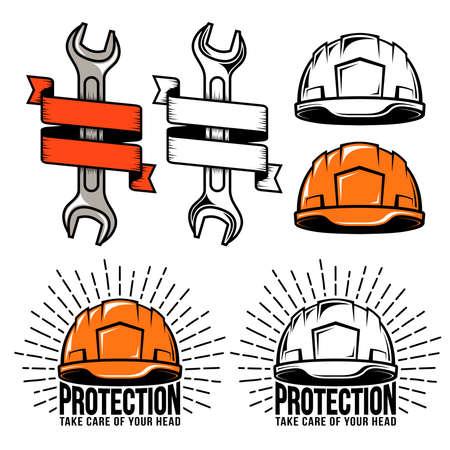 Working helmet retro logo, wrench, spanner with heraldic ribbon. Vintage hardhat