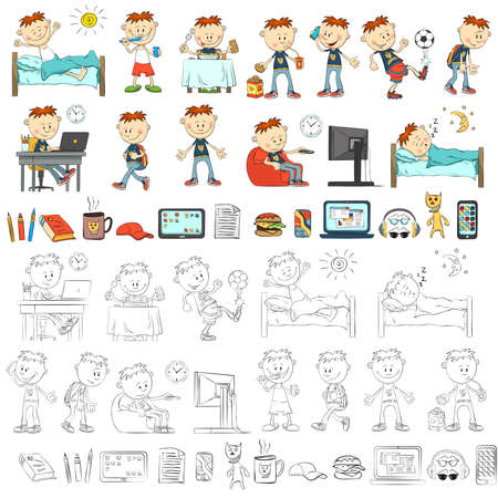 Cartoon boy, schoolboy in different situations. Accessories student. Black and white and color versions. Archivio Fotografico