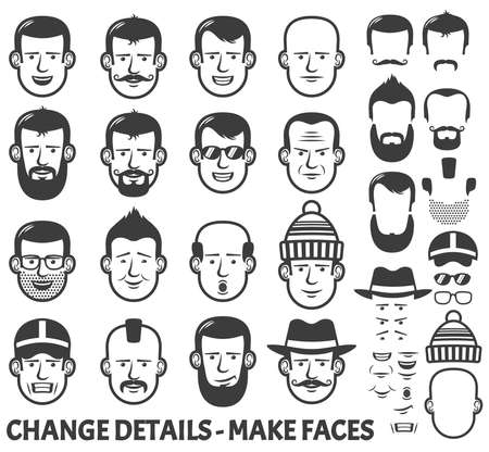 Human face creator. Different versions of male faces for avatars. in black and white.