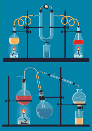 Composition of chemical flasks, devices for conducting chemistry reactions Stock Photo