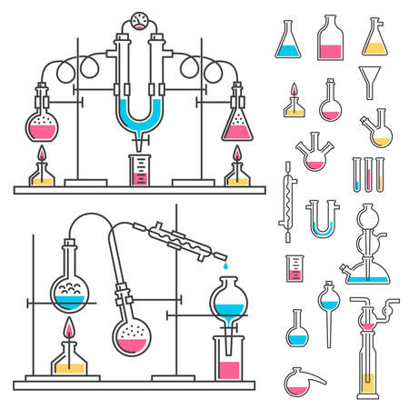 Laboratory installation for chemical reaction experiments. Set of chemical glassware in outline style. Banco de Imagens