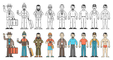 A set of men in different clothes. Travelers, businessmen, workers, ordinary people. Color and monochrome version.
