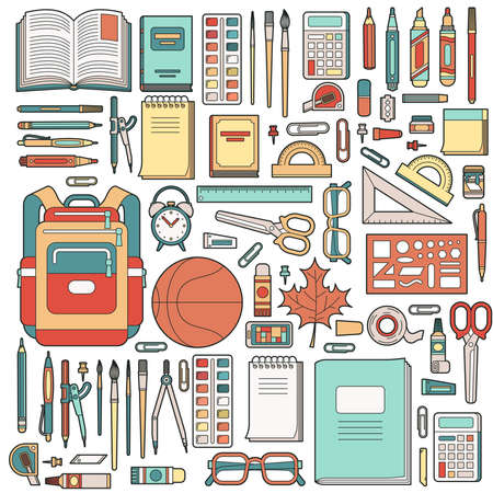 Big set of school stationery with student backpack. Banco de Imagens