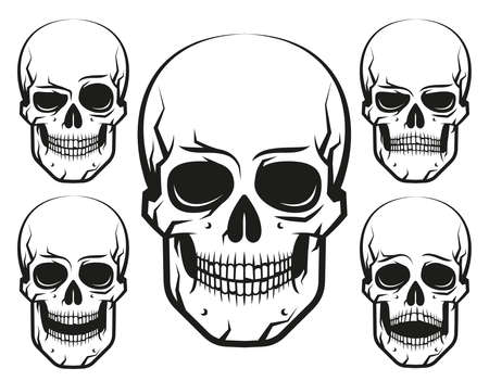 A set of black and white skulls with emotions
