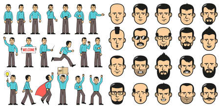 Man in blue shirt has different poses and faces. Cartoon style. Banco de Imagens