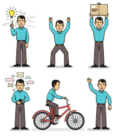 Office clerk in various situations. A man rides a bicycle with a smartphone, rejoices, waves a hand, holds a box, thinks. Banco de Imagens