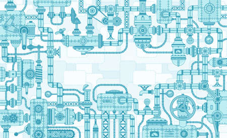 Industrial intricate framing of the mechanisms of parts and machines. Vector illustration. Vector Illustration