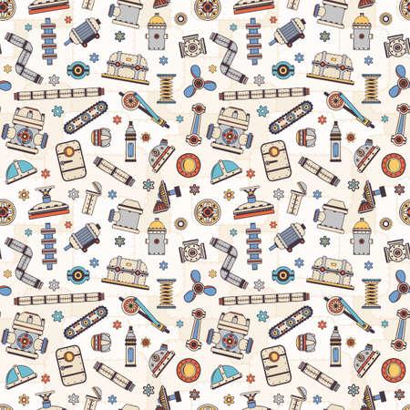 Industrielle Ersatzteile von Maschinen und Mechanismen nahtlose Muster. Doodle-Stil. Vektor-Illustration.