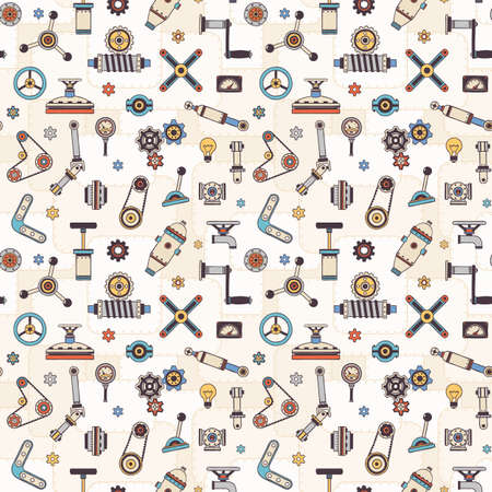 Parts and details of Industrial machines and devices - seamless pattern. Doodle style. Vector illustration. Ilustração